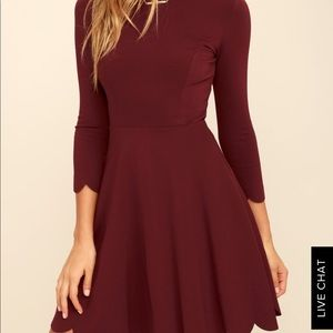 Lulus Brand burgundy scallop dress